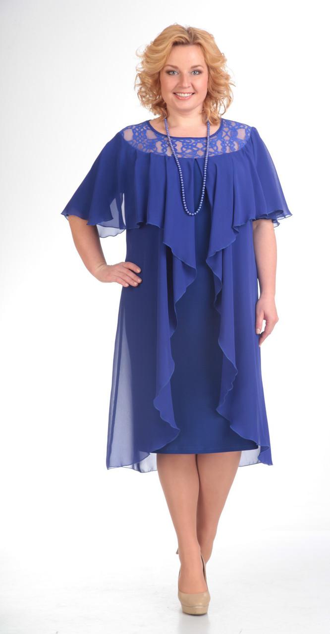 Платье Pretty-168/2 белорусский трикотаж, василек, 56