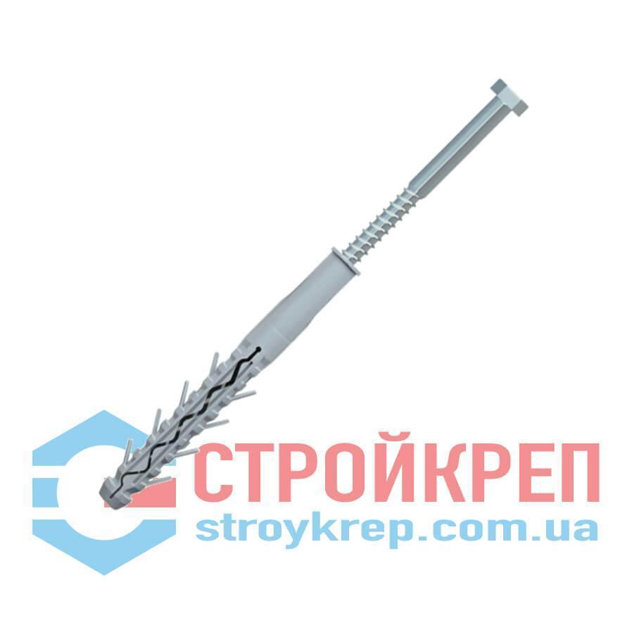 Дюбель тройного распора (полипропилен) с шестигранным шурупом под ключ, оцинкованный, 16х180