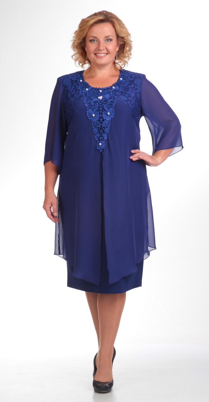 Платье Pretty-338 белорусский трикотаж, василек, 56