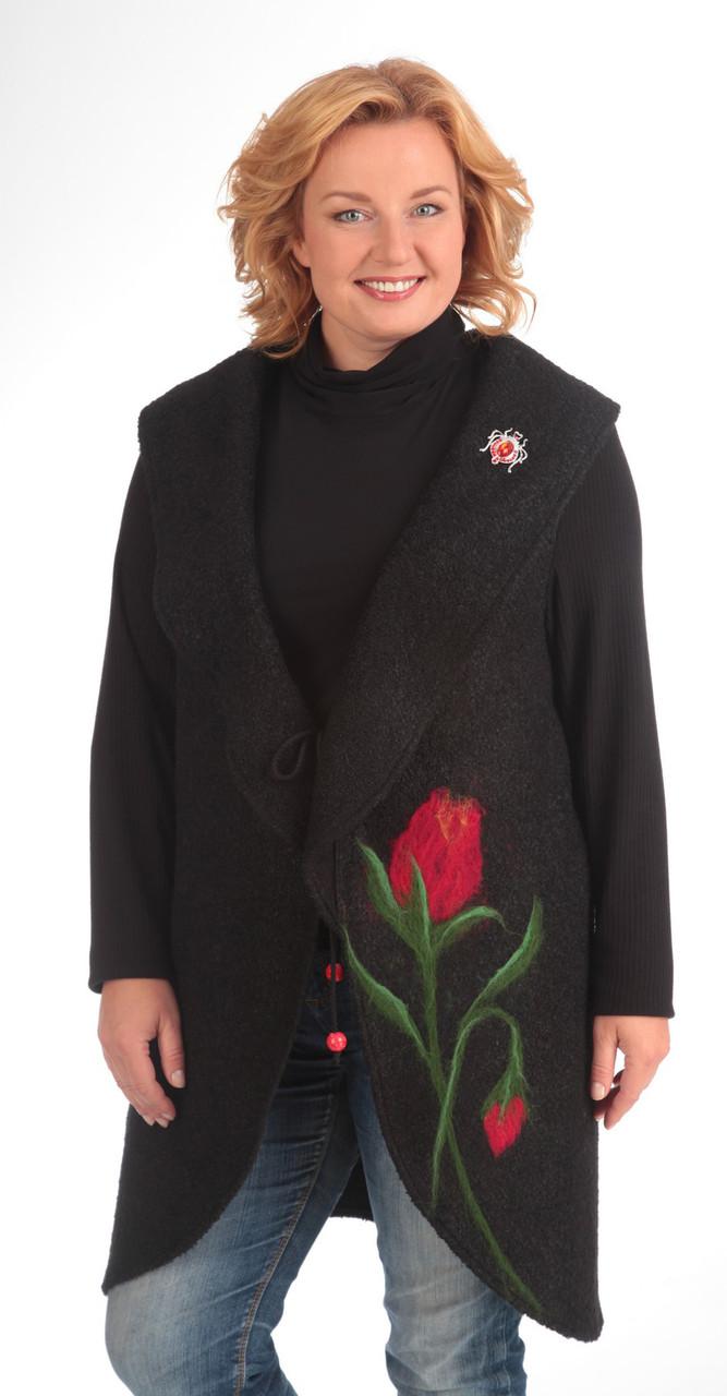 Кардиган Pretty-484 белорусский трикотаж, черный+красный, 50