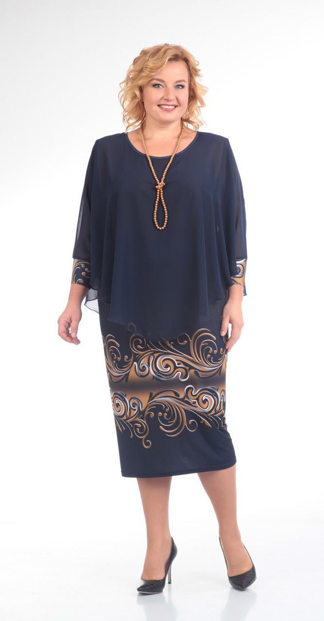 Платье Pretty-622 белорусский трикотаж, темно-синий, 56