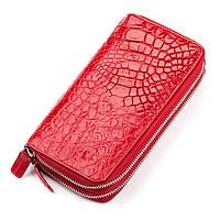 983eb1c007d3 Кошелек- клатч женский CROCODILE LEATHER 18027 из натуральной кожи  крокодила Красный, Красный