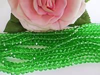 Бусины хрустальные 4х3 мм, 140-150 шт, цвет светло-зеленый (прозрачный)