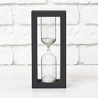 Песочные часы 15 минут корпус черный белый песок (20х5х9 см)
