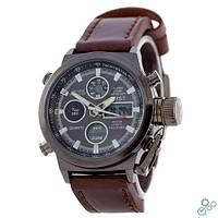 Часы наручные мужские AMST MOUNTAIN (черные-коричневые) Military Watch