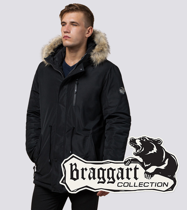 Braggart Black Diamond 31720   Мужская парка с меховой опушкой черная
