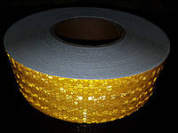 Светоотражающая самоклеющаяся ТЕМНО-ЖЕЛТАЯ лента 5х100 см