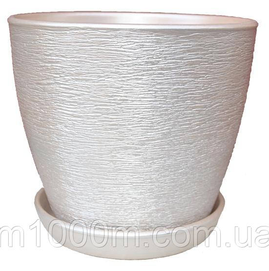 Горшок керамический Ксения люкс 1,5л белый золото 9817