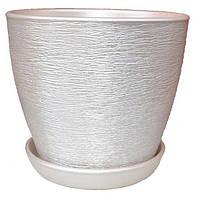 Горшок керамический Ксения люкс 1,5л белый золото 9817, фото 1