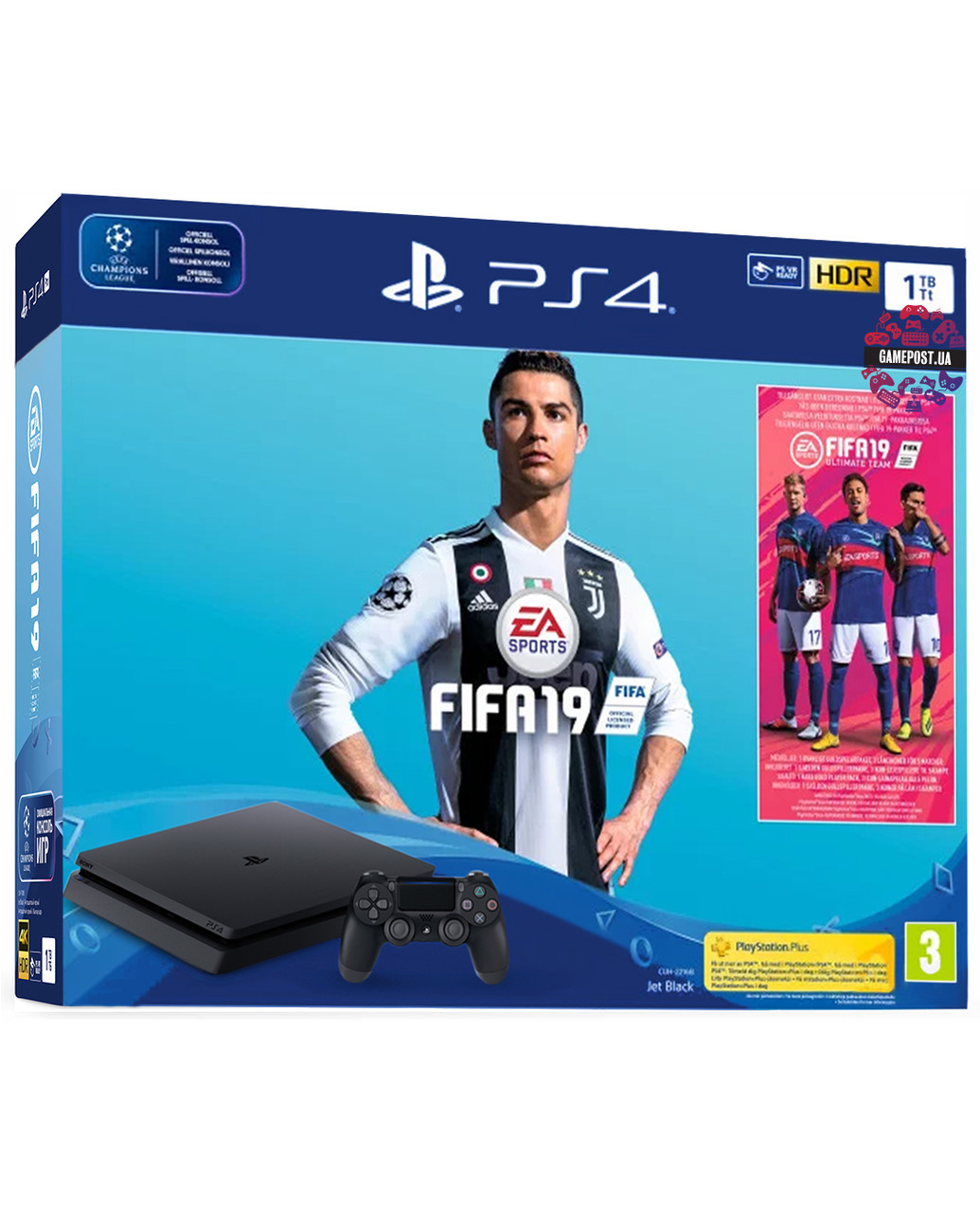 Игровая приставка ps4 Playstation 4 Slim 1000 GB + FIFA 19