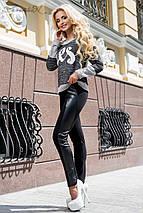 Женские черные леггинсы с кожаными вставками (1858 svt), фото 2