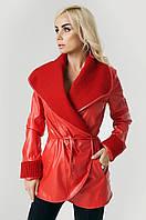 Куртка экокожа с довязом красная размер 42
