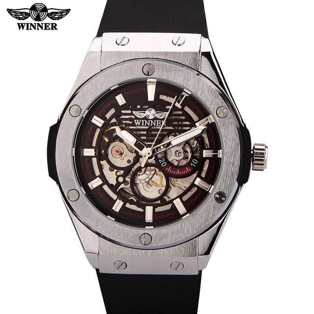 6eecf83c Мужские механические часы Winner Skeleton Rubber Оригинал: продажа ...