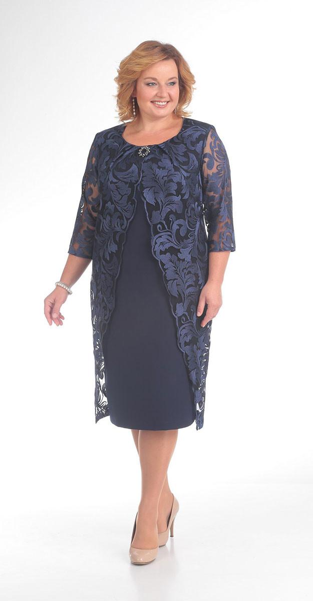 Платье Pretty-753 белорусский трикотаж, темно-синий, 56