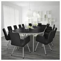 Конференц-стол BEKANT 420х140 см черно-коричневый/белый