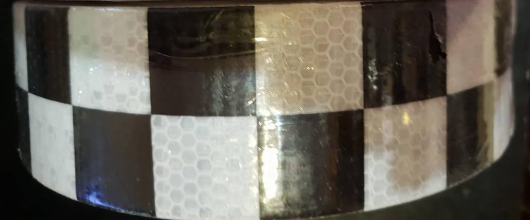 Светоотражающая самоклеющаяся кубики ЧЕРНО-БЕЛАЯ лента 5х100 см, фото 2