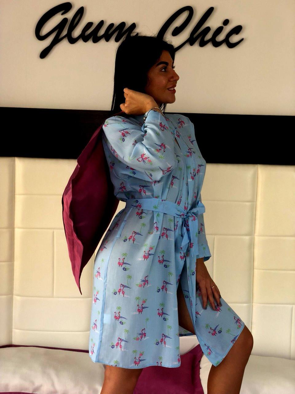 Хлопковый халат женский под пояс для дома ТМ Exclusive