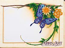 """Набор для вышивки бисером на натуральном художественном холсте фоторамка """"Голубая бабочка"""""""