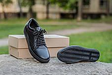 Мужские кожаные кеды  черные, фото 2