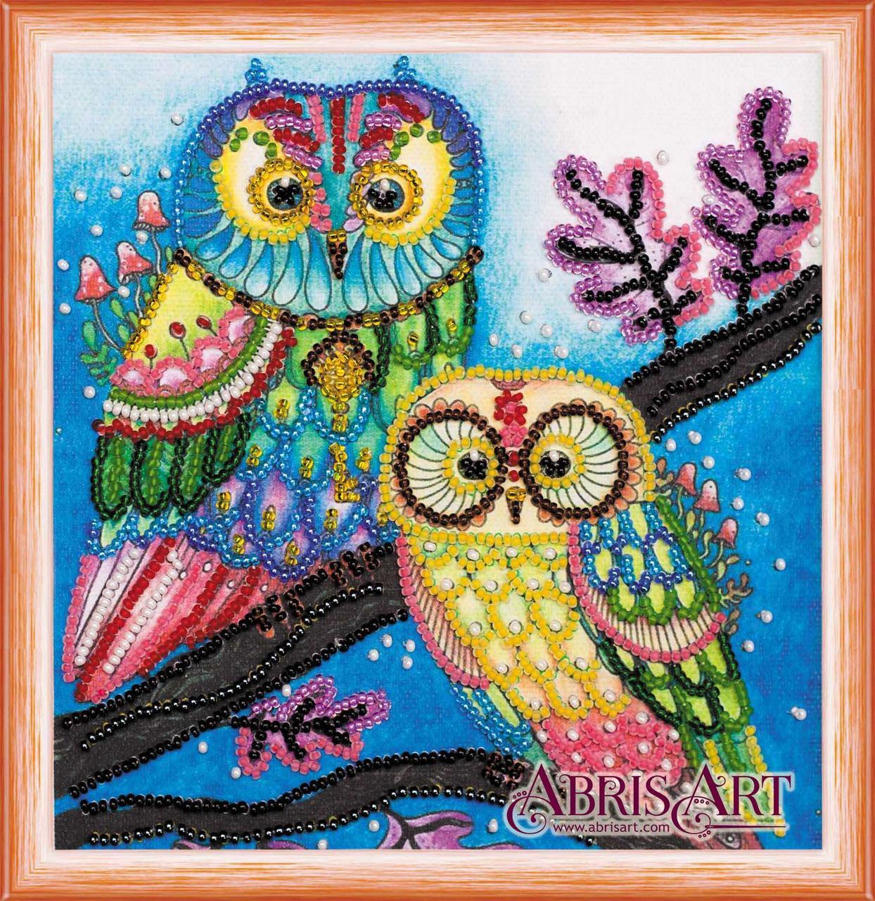 Набор для вышивки бисером ТМ АБрис Арт на натуральном художественном холсте Ночная парочка
