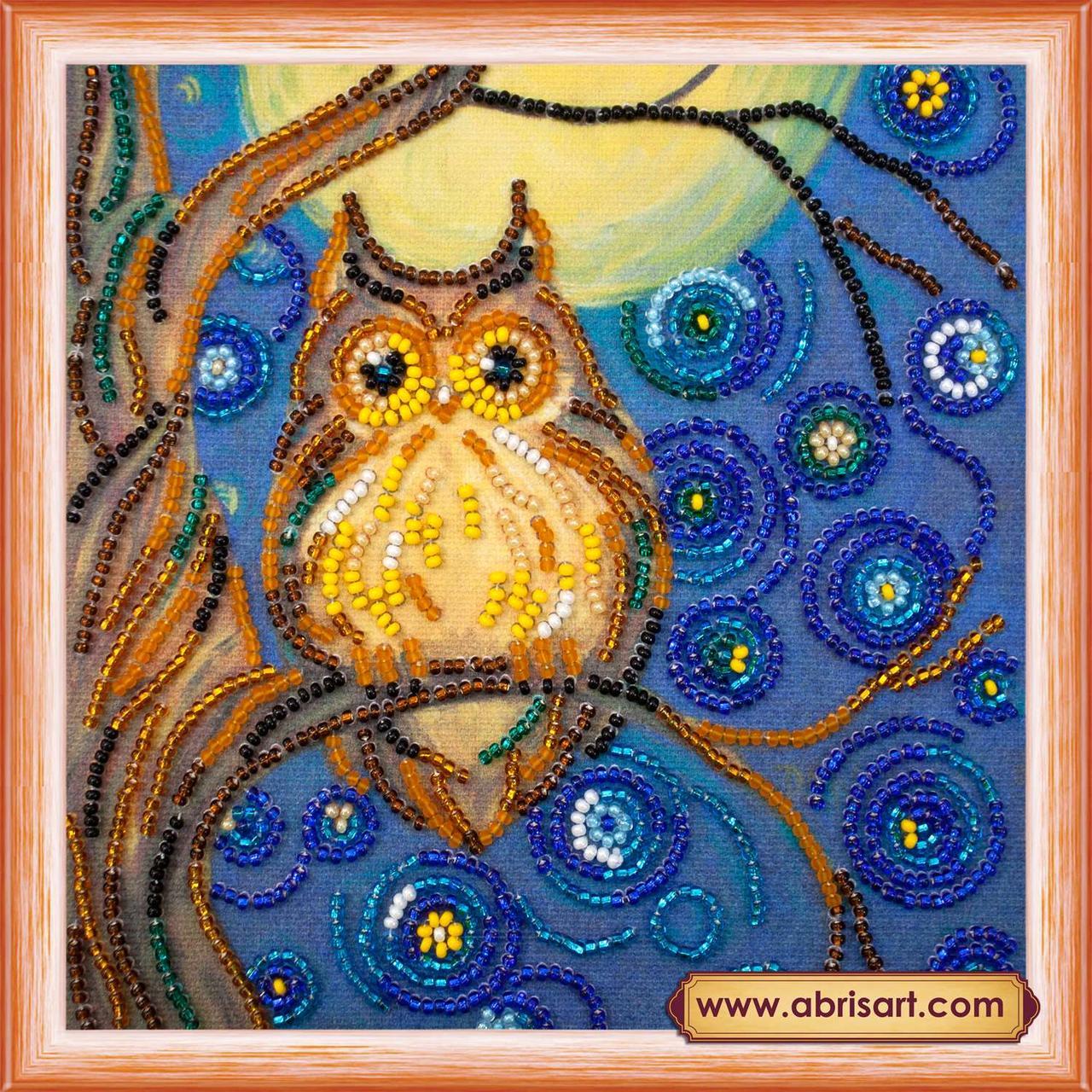 Набор для вышивки бисером ТМ АБрис Арт на натуральном художественном холсте Полуночный филин