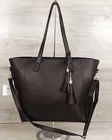 Коричневая сумка-шоппер 54345 шоколадная на плечо матовая большая корзина, фото 1