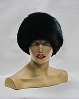 "Норковая шапка  ""Папаха с коженным шнурком"" (черная)"