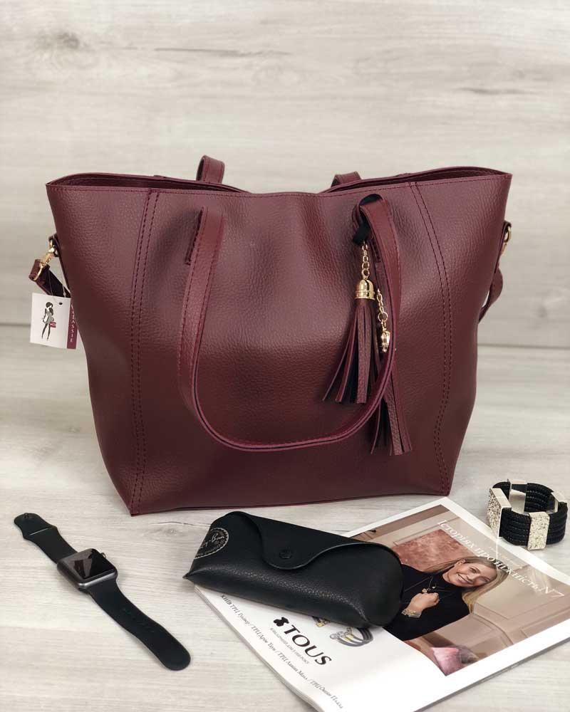 0d8fe8e9f948 Бордовая сумка-шоппер 54347 на плечо матовая большая корзина, фото 1