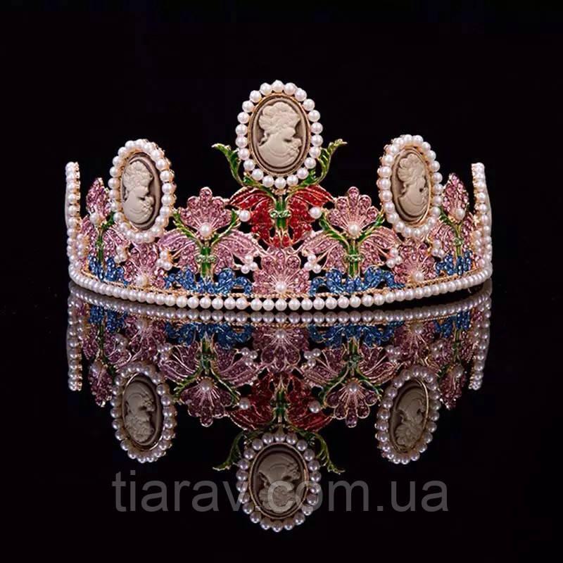Тіара в стилі Dolce&Gabbana корона АМАЛІЯ, прикраси для волосся, діадема
