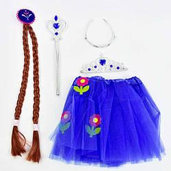 Карнавальный набор для девочки 4 предмета: юбка, коса, жезл, корона в п/э 32*2*55см /100/
