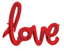 Фольгированное слово LOVE, красного цвета,70 см