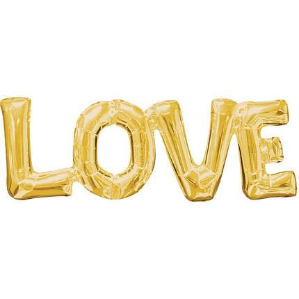 """Фольгированные буквы """"Love"""", 80 см, золото, фото 2"""