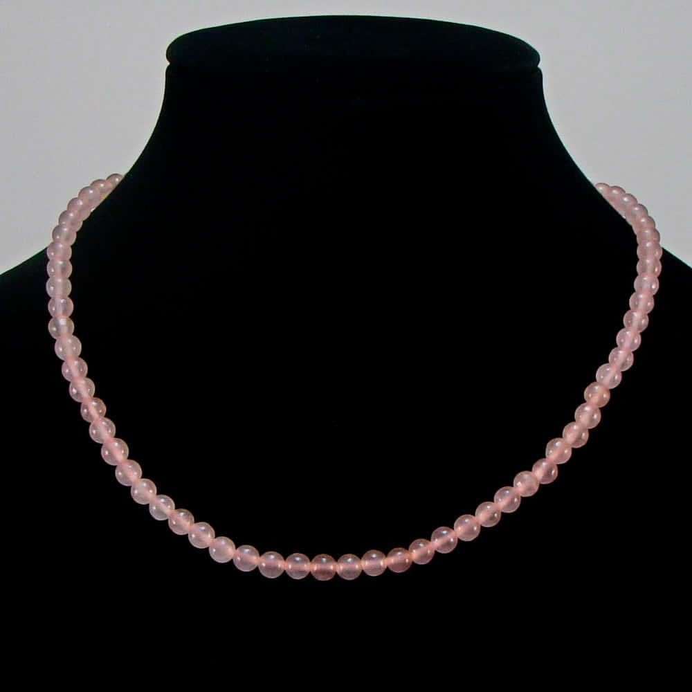 Бусы из натурального розового кварца (6мм) (S0007)