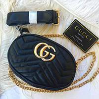 1f42d86f420f Женская поясная сумка Gucci (Гуччи) +цепочка на плечо бананка. Цвета: черный
