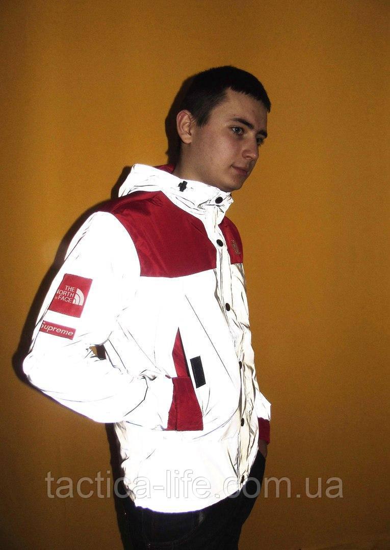 e68848b8863a Рефлективная Куртка Supreme x The north face red (ТОП реплика ...