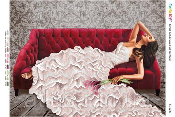 """Схема для частичной вышивки бисером """"Дівчина на червоному дивані (част. Виш.)"""""""