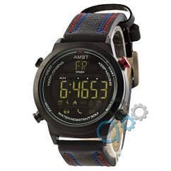 Наручные армейские часы AMST 3017 All Black-Red-Blue Wristband, кварцевые, противоударные, реплика