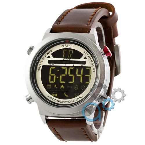 Наручные армейские часы AMST 3017 Silver-White Brown, кварцевые, противоударные, армейские часы АМСТ, реплика