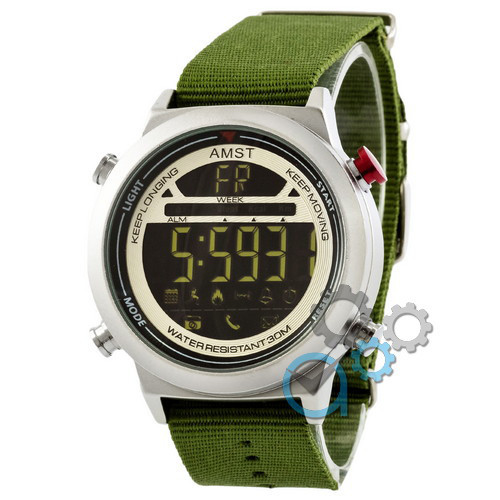 Наручные армейские часы AMST 3017 Silver-White-Green Wristband, кварцевые, противоударные, реплика