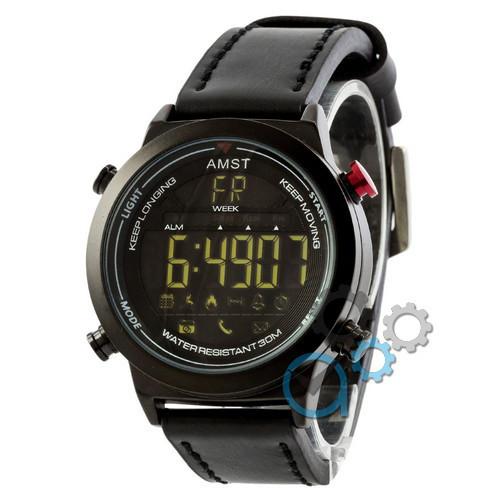 Наручные армейские часы AMST 3017 All Black, кварцевые, противоударные, армейские часы АМСТ, реплика
