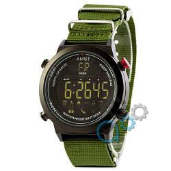 Наручные армейские часы AMST 3017 All Black-Green Wristband, кварцевые, противоударные, реплика, отличное качество!