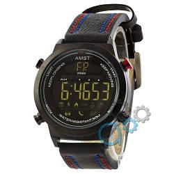 Наручные армейские часы AMST 3017 All Black-Red-Blue Wristband, кварцевые, противоударные, реплика, отличное качество!