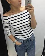 Популярная женская кофта с открытыми плечами в полоску