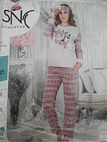 Женская теплая пижама №4037 (махра с флисом)