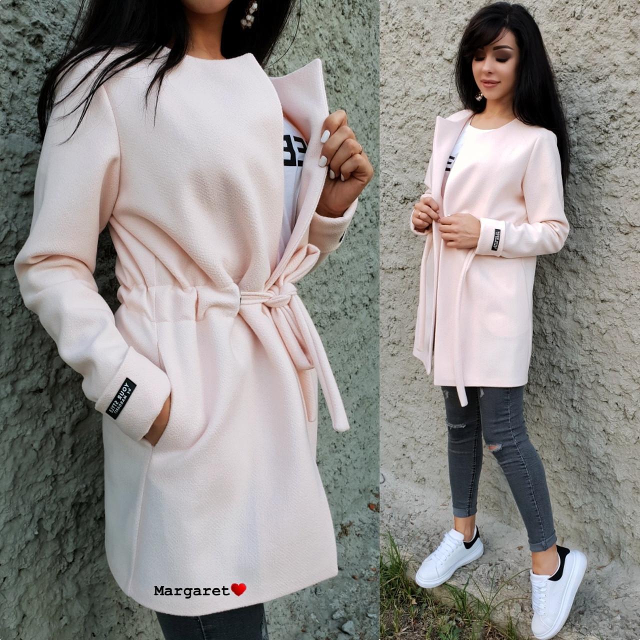 Легкое кашемировое женское пальто с кулиской 902114