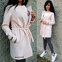 Легкое кашемировое женское пальто с кулиской 902114, фото 1