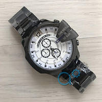 Мужские наручные часы Diesel 10 Bar All Black-White Metall кварцевые, часы Дизель, реплика, отличное качество
