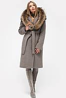 Зимнее женское пальто с мехом и капюшоном капучино