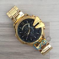 Мужские часы Diesel 10 Bar Gold-Black, кварцевые, реплика, отличное качество!