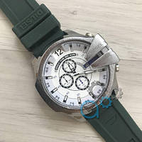 Мужские часы Diesel 10 Bar Silver-White Green Wristband Silicone кварцевые, реплика, отличное качество!